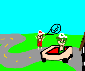 luigi in a go-cart