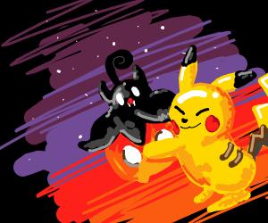 Pikachu hugs pumpkin