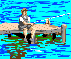 Person fishes from dock