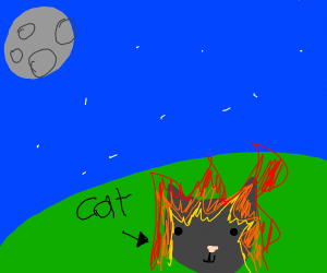 flaming cat looking at the moon