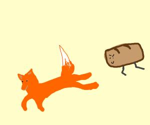 Fox runs away from a running loaf of bread!