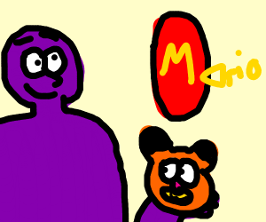 Purple man, Garfield, and PICKLE MARIO