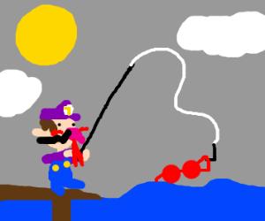 Waluigi fishing for a red bra!