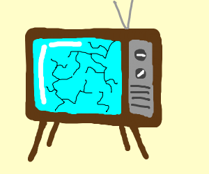 Broken old fashioned television with cracks