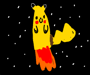 Pikachu is a rocket in outer space!