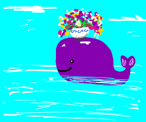 whale with a bowl of flowers