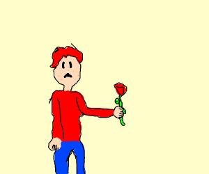 a sad redhead with a rose