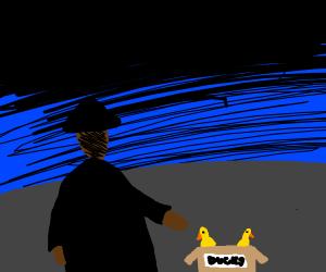 Dark clothed man selling ducks at night