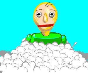 Baldi in a pile of Cotton balls.