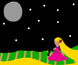 Repunzel sitting in a crop field under moon