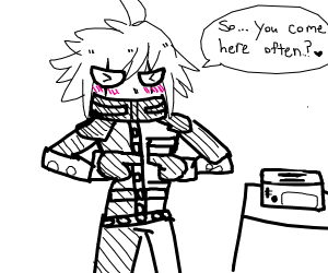 Kiibo talks with a toaster