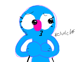 Blue muppet clutches herself awkwardly
