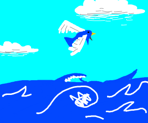 Blue and White Bird-Fish Flying Out of Water