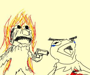 Elmo on fire shoots kermit the frog