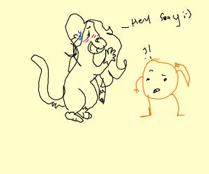 monkey girl flirting with confused orange guy
