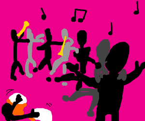 black conga line but with drums and trumpets
