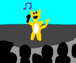 cat singing at a concert