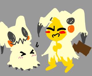 Pikachu and Mimikyu