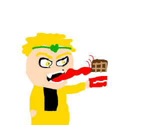 Dio licking chocolate