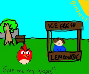 An angry bird walks up to a lemonade stand