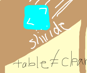 Ice cube sliding down dirty table