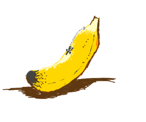 man climbing on big banana