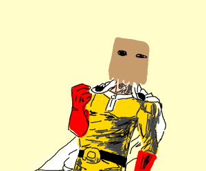 One punch man with a bag on his head