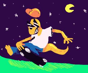 Cool 90s lizardman skateboards at night