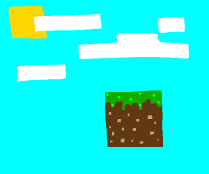 minecraft grass block. chillin in the sky.