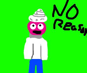 Icecream on pink boys head for no reason
