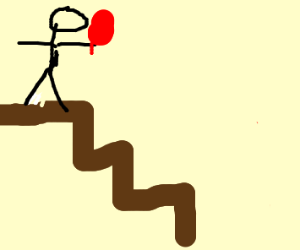 Man with lollipop walk down stairs