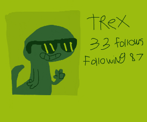 t-rex profile with sunglasses, cartoon, smile