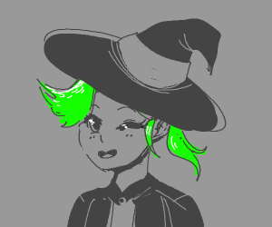 Cute green haired witch.