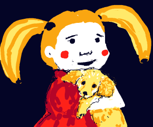 Girl with banana hair holding puppy