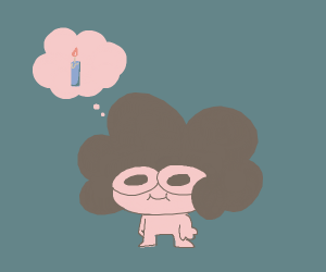 big hair girl thinks about a candle