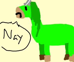 "green unicorn saying ""nay!"""