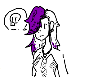 Goth girl with purple hair.