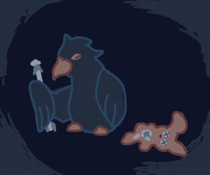 Crow holds arrow that pierced a rabbit doll