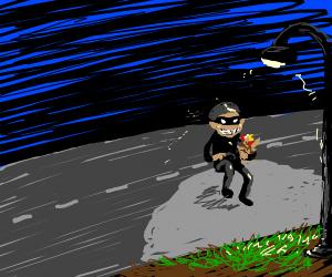 A burglar crossing the road w/ a chicken