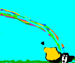 honey badger gets to the end of the rainbow