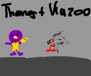 Thanos blowing a kazoo