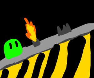 A slime monster in danger