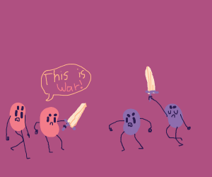 A war between pink and purple jelly beans