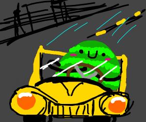 watermelon driving a yellow car