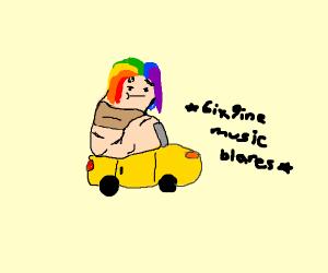 a worm with tekashi 69 hair driving a car