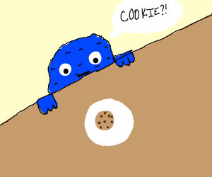 Cookie Monster see the most delicious cookie