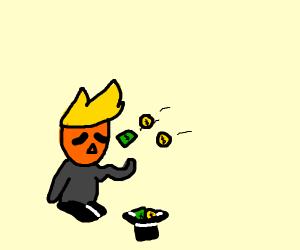 Trump as a beggar