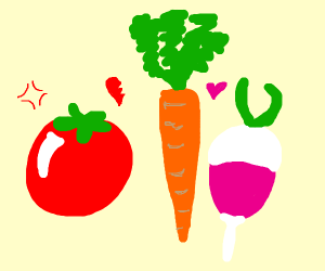Carrot getting caught cheating with radish