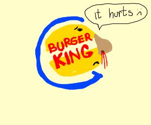 Burger King logo got a bloody nose & it hurt