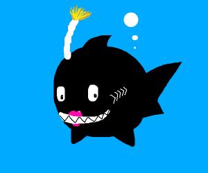 Bomb-shark with lipstick